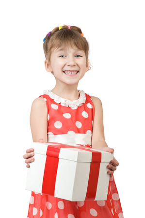 profit celebration: little girl holding a box with a gift surprise. isolated