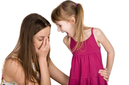 scandal: problems between parents and children. scandal and quarrel Stock Photo