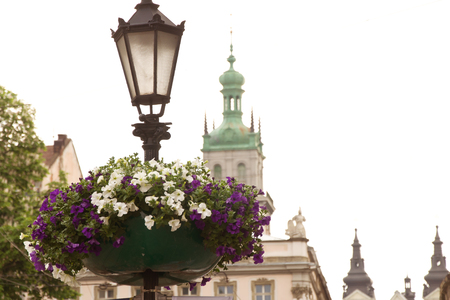 Old beautiful city center. Historical city. Tourist centre. Guide