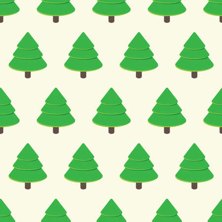 Seamless pattern with cartoon green trees on a neutral background