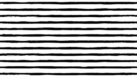 Abstract horizontal monochrome striped grunge pattern Hand drawn black ink stripe background