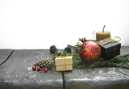 festive christmas background top view on  wooden table texture Stock Photo