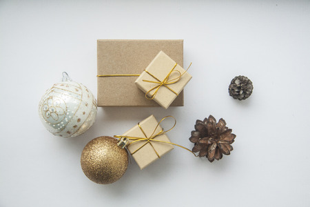 christmas gift  boxes and balls on white background