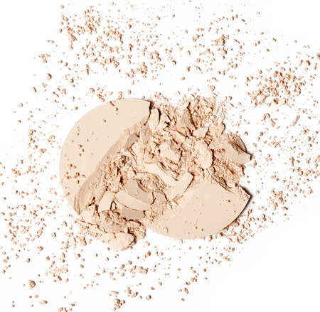 pink powder: crumbled beige pink powder isolated on white background Stock Photo