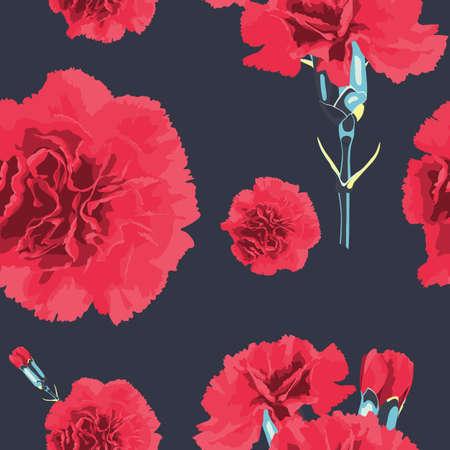 carnations: Seamless pattern carnations flower. Floral background. Wallpaper. Elegance pattern with realistic flowers. Vintage vector illustration eps 8 Illustration