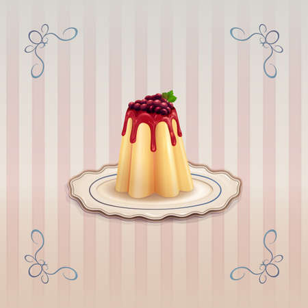 Sweet pudding with caramel and currants on vintage background