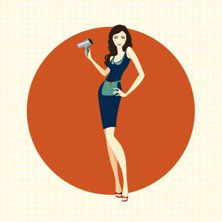 Illustration of attractive girl hairdresser with dryer on orange background