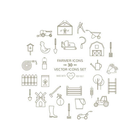 ladder  fence: Farmer gardeninng tools icons set on isolated background. 20 high quality simple linier icons. Vector illustration eps 8