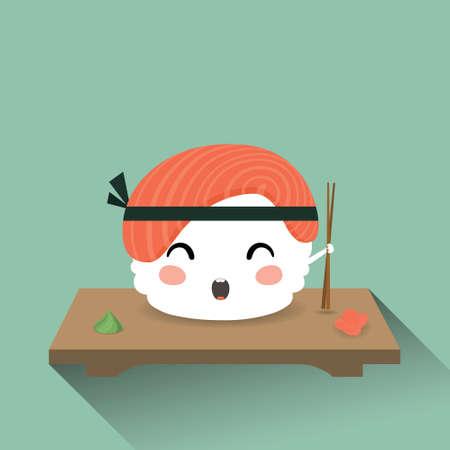 lad: Ilustraci�n vectorial de un sushi lindo de la historieta. Comida japonesa Vectores
