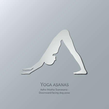 astral: Yoga asanas. Adho Mukha Svanasana.Downward-facing dog pose. Cut-out paper Design