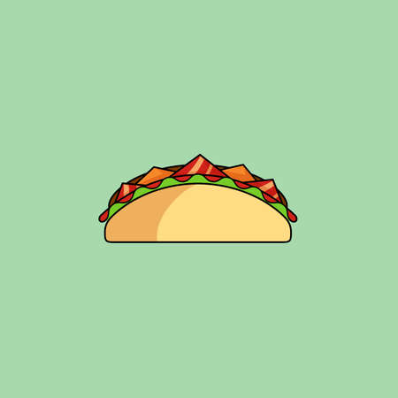 taco: Cute cartoon tacos, shaurma Burrito with salad, tomatoes, cutlet, cheese.Minimalist line style, modern color, flat design. Mexican food thin line icon for web, mobile. Vector illustration, eps10
