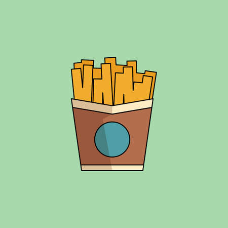 cerulean: Cute cartoon Icon French Fries.Potato in paper bucket. Office snack, business lunch takeaway. Vector minimalist line icon for web and mobile, modern color, flat design. Design element for your project. Vector illustration