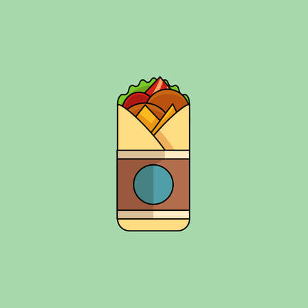 cartoon chicken: Cute cartoon Chicken Roll with salad, tomatoes, cutlet, cheese, ham. Minimalist line style, modern color, flat design. Mexican food thin line icon for web, mobile. Vector illustration Illustration