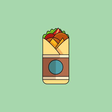 pollo caricatura: Rollo de pollo de dibujos animados lindo con ensalada, tomates, chuleta, queso, jam�n. Estilo minimalista l�nea, el color moderno, dise�o plano. �cono mexicano comida fina l�nea para web, m�vil. Ilustraci�n vectorial Vectores