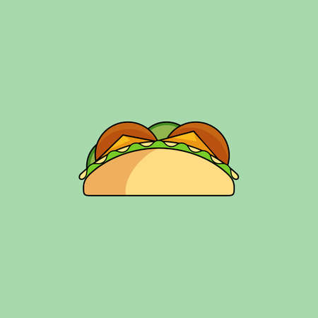 burrito: Cute cartoon tacos. Burrito with salad, cucumber, cutlet, cheese.Minimalist line style, modern color, flat design. Mexican food thin line icon for web, mobile. Vector illustration