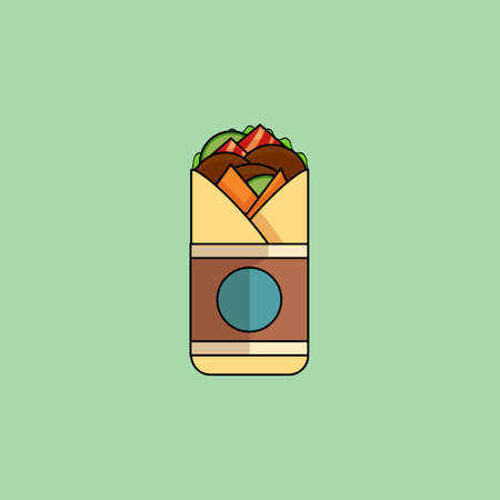 cheese cartoon: Cute cartoon Beef Roll with salad, tomatoes, cutlet, cheese, ham.Minimalist line style, modern color, flat design. Mexican food thin line icon for web, mobile. Vector illustration