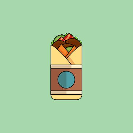 pepino caricatura: Rollo de carne de vaca de dibujos animados lindo con ensalada, tomates, chuleta, queso, estilo de línea ham.Minimalist, color moderno, diseño plano. Ícono mexicano comida fina línea para web, móvil. Ilustración vectorial