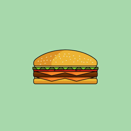 cheese burger: Cute cartoon cheeseburger with double cheese. Burger with salad, tomatos, cutlet. Minimal line style, modern color. Burgergamburger web icon. Design element for your project. Vector illustration Illustration