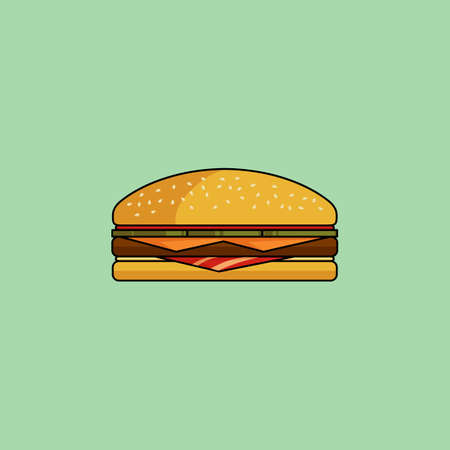pickle: Cute cartoon cheeseburger with bacon. Burger with ham, tomatoes, cutlet, pickle. Minimalist line style, modern color. Hamburger web icon. Design element for your project. Vector illustration