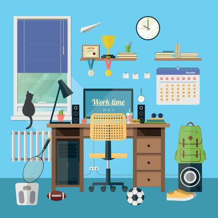 ... Im Zimmer. Kreative Büroarbeitsplatz Mit Ausrüstung, Elemente, Objekte.  Wohnung Minimalistischen Stil In Modischen Farben. Flaches Design, Icon  Sammlung