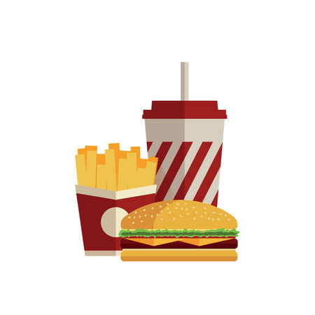 fizzy water: Lunch with french fries, hot dog and soda takeaway on isolated background. Fast food. Flat design. Vector Illustration