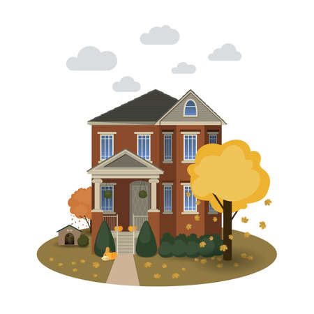 Two story autumn house with falling leaves and decorated with pumpkins on isolated background Illustration