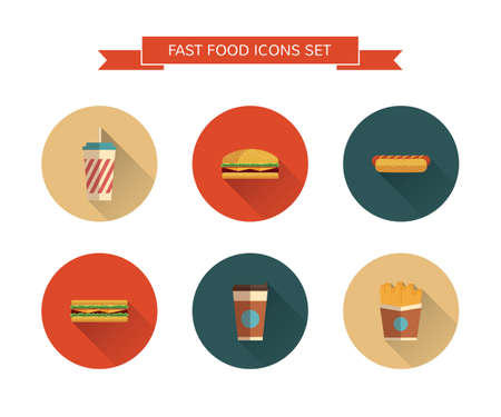 Fast Food icons set on isolated background. Modern color. Flat design with  long shadows. Minimalistic stile.