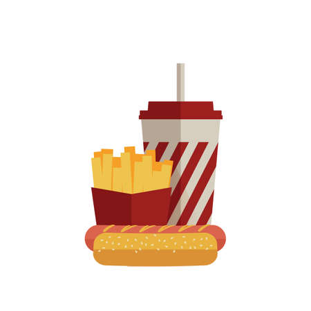 fizzy water: Fast food lunch with french fries, hot dog and soda takeaway in flat design. Vector Illustration Illustration