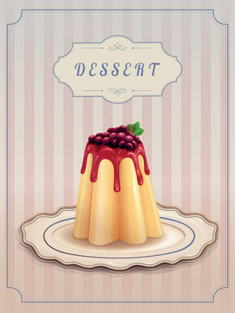 flan: Sweet pudding with caramel and currants on vintage background. Dessert Menu Card Design template. Vector illustration.