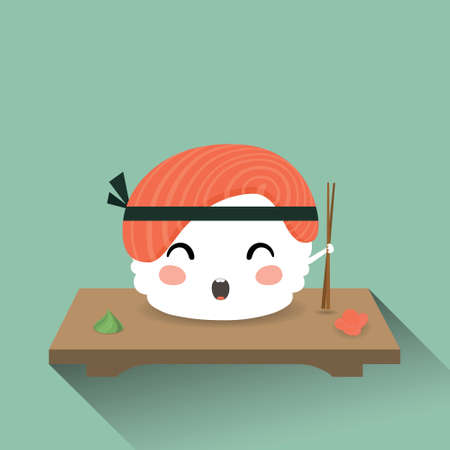 sushi chopsticks: Vector illustration of a cute cartoon sushi. Japanese food