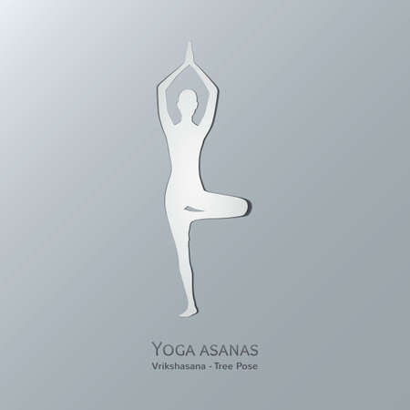 vriksasana: Yoga asanas. Vriksasana. Tree pose. Cut-out paper Design. Illustration