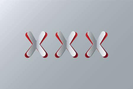 XXX - vector illustration. Cut-out paper Design. Modern Color. Design element. Illustration
