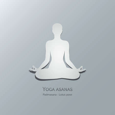 lotus pose: Yoga asanas. Padmasana. Lotus pose. Cut-out paper Design