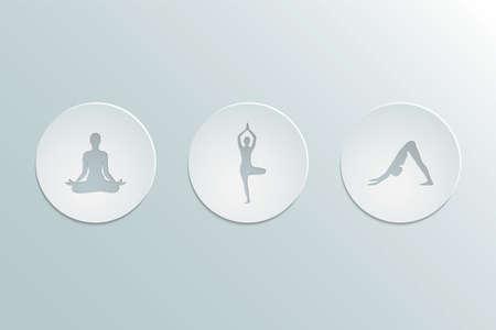 Set of icons yoga asanas. Cut-out paper Design.  Flat design. Vector illustration.