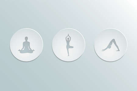 Set of icons yoga asanas. Cut-out paper Design.  Flat design. Vector illustration.