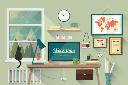 Illustration of  modern workplace in room. Creative office workspace with map. Flat minimalistic style. Flat design with long shadows. Vettoriali