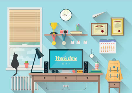 Vector illustration of  modern workplace in room. Creative office workspace with equipment, elements, objects. Flat minimalistic style in stylish colors. Flat design with long shadows, icon collection