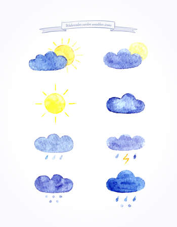 desember: Watercolor vector set of weather icons. Weather template. Vector illustration.