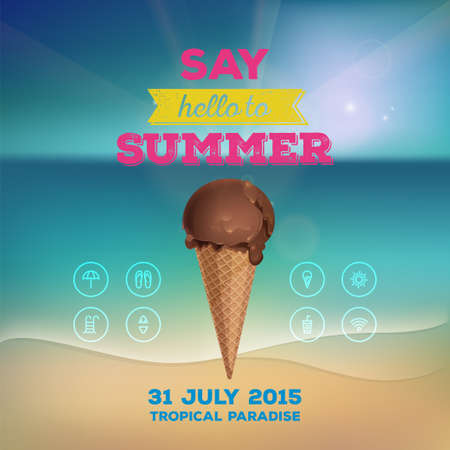 skyblue: Summer poster invitation to rest. Chocolate ice cream in waffle cup on background of the sea. Line icon, design elements.