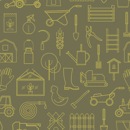 ladder  fence: Line seamless pattern icon farmer, gardening tools on olive background. 30 high quality simple liner icons.