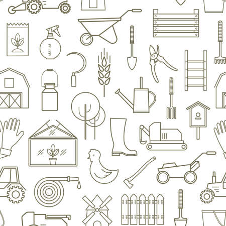 ladder  fence: Line seamless pattern icon farmer, gardening tools on white background. 30 high quality simple liner icons.
