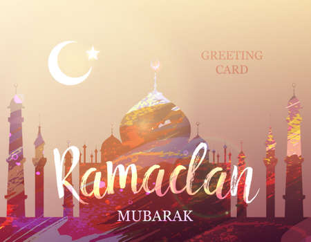 fasting: Ramadan Mubarak. Month of fasting. Template for creative greeting card, arabic celebration. Islamic abstract watercolor splash background with silhouette of a mosque.