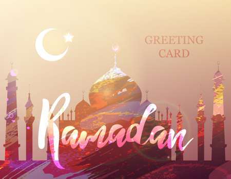 fasting: Ramadan Kareem. Eid Mubarak. Month of fasting. Template for creative greeting card, arabic celebration. Islamic abstract watercolor splash background with mosques.
