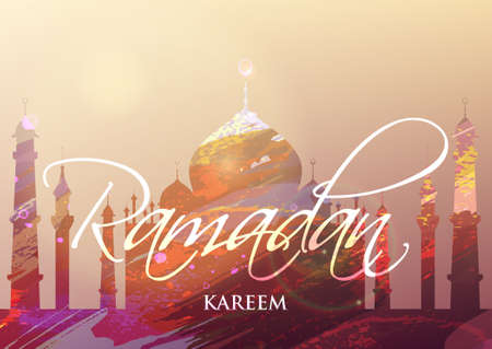 fasting: Ramadan Kareem. Month of fasting. Template for creative greeting card, arabic celebration. Islamic abstract watercolor splash background with silhouette of a mosque.
