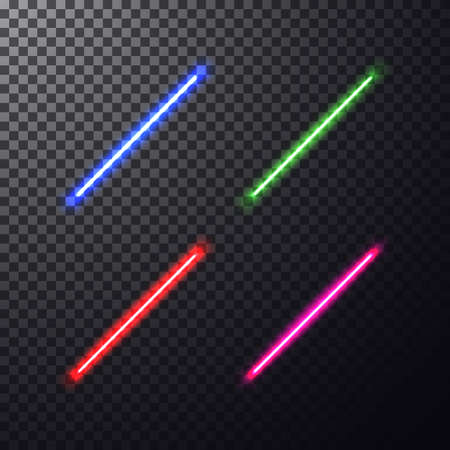 laser beam: Realistic bright colorful laser beam. Light swords on isolated transparent black background. Weapon futuristic from star war. Illustration