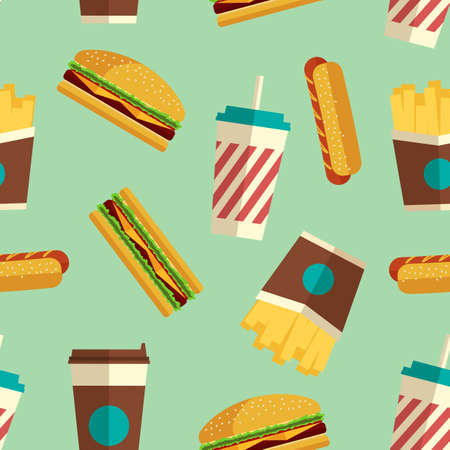 continental food: Fast Food icons pattern on turquoise background. Business lunch print. Modern color. Minimalistic style. Illustration