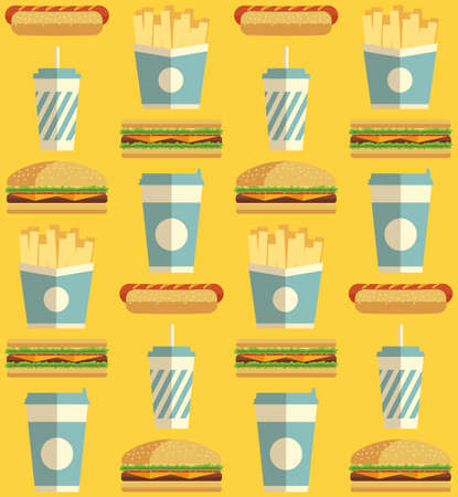 continental food: Fast Food icons pattern on orangeyellow background. Business lunch print. Modern color. Minimalistic style.