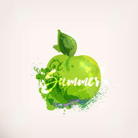 Aquarell grünen Apfel mit Schriftzug. Äpfel Tuschemalerei. Süße fruit.Colloorful Farbe Flecken und Flecken. Hand gezeichnete Konzept für Ihr Logo, Bauernmarkt, Bio-Lebensmittel, Verpackungsdesign, Kräutertee