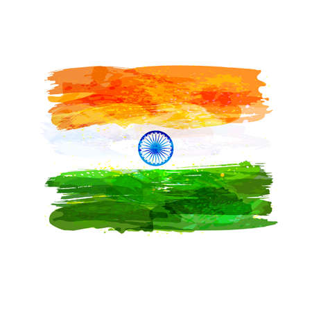 tricolors: Indian hand drawn watercolor flag. Creative watercolor background in national flag tricolors. India Independence Day. Template for cover design, advertising, banner, greeting card, brochure, flyer