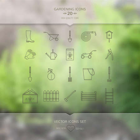 ladder  fence: Gardening tools icons set on blurred unfocused  background